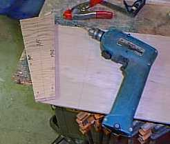 Lay tombstone(transom) on side panel to bore stitching holes,aligning ...