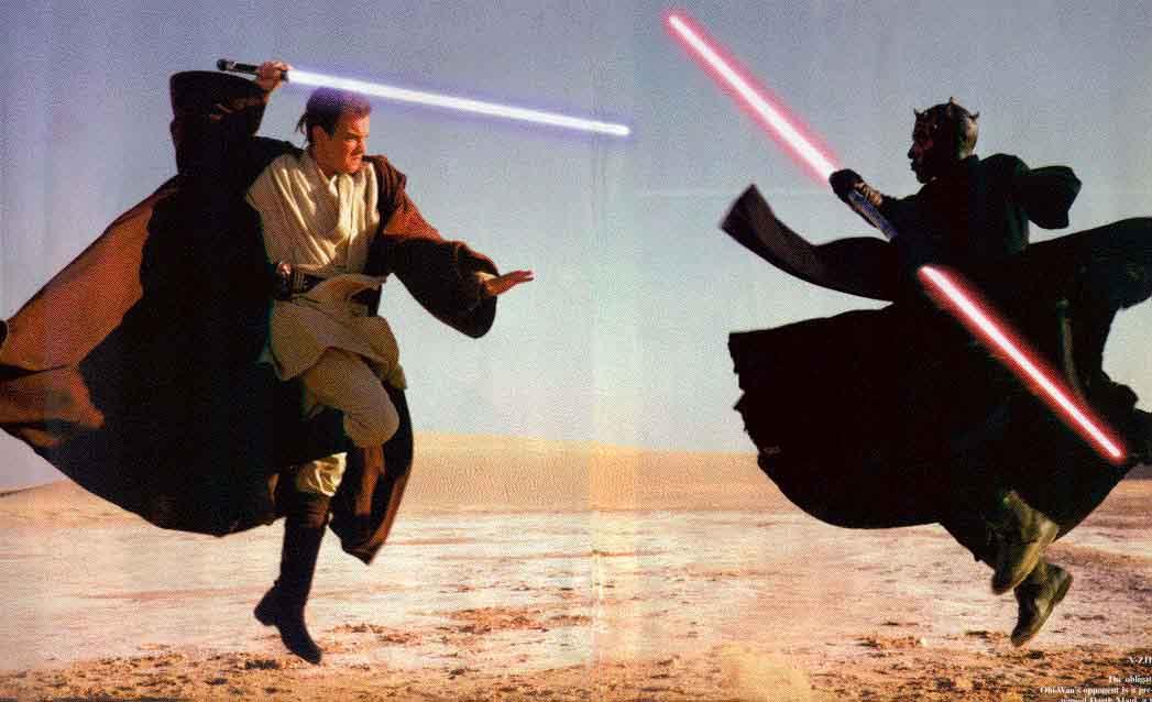 star wars lightsaber battle scene